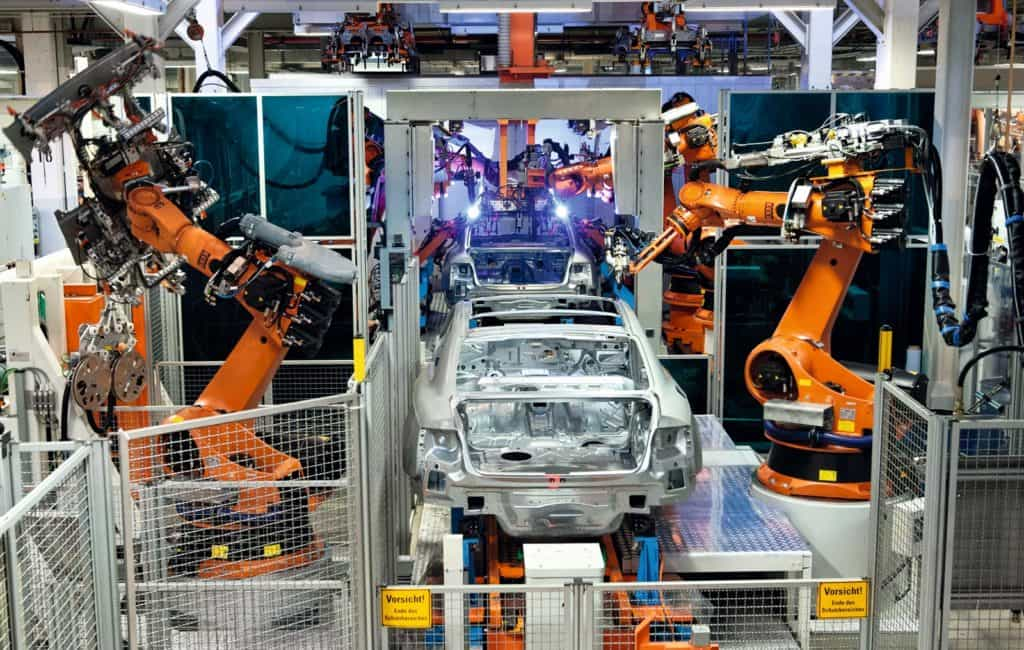 Industrial robots soldering roof panels of Audi vehicles using Plasmatron, A4 Sedan, A4 Avant, A5 Coupe, A5 Sportback and RS5, Audi plant in Ingolstadt, Bavaria, Germany, Europe, Image: 148191898, License: Rights-managed, Restrictions: , Model Release: no, Credit line: Profimedia, imageBROKER