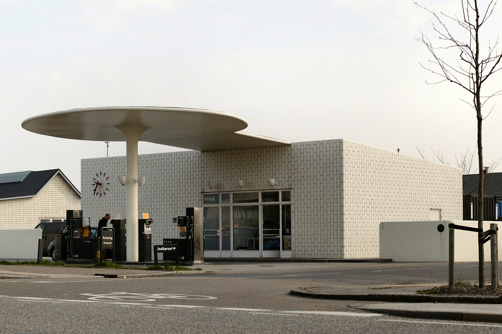 The Skovshoved Tankstation is a functionalist style gas station in Skovshoved, Denmark, designed by Arne Jacobsen, opened in 1936.