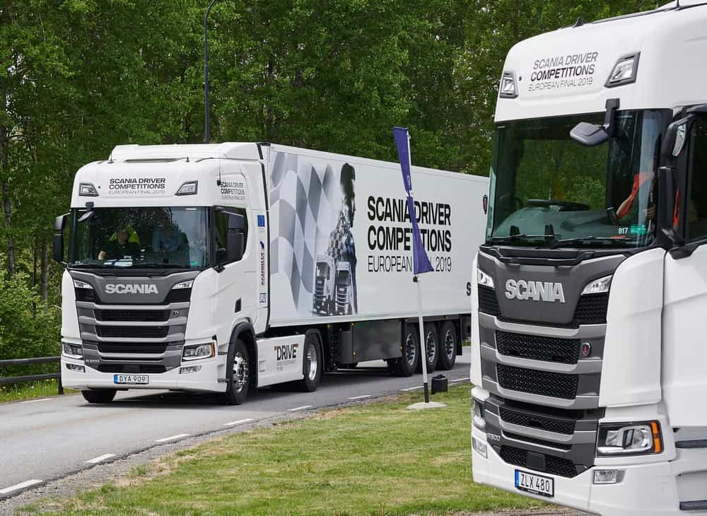 """Scania Driver Competitions 2019, European final. First qualification round at Demo Centre. """"Defense driving""""."""