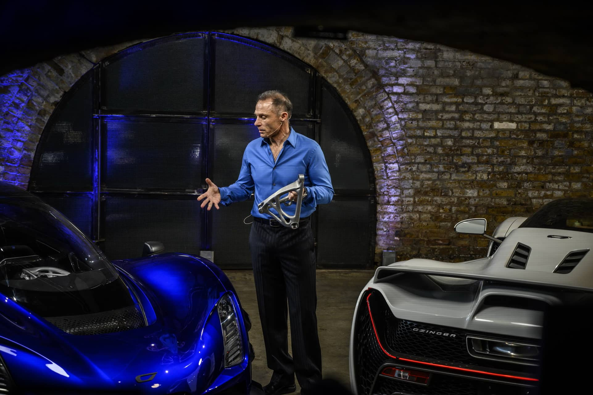 9.-CEO-and-Founder-Kevin-Czinger-at-worldwide-reveal-in-London-UK-holding-a-front-upper-control-arm